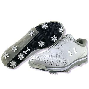 Under Armour Golf Shoes 11 Mens Tempo Tour Soft Cleats White Metallic Silver New