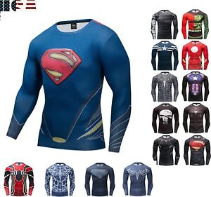 Superman Long Sleeve T-shirt Men's Compression Gym Fitness Sport 3D Tops Clothes