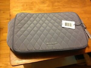NWT VERA BRADLEY Large Blush and Brush Makeup Case Bag Carbon gray  MSRP $62