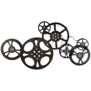 Antique- Style Bronze Metal Movie Reels Wall Art Theater Home Decor Family Room