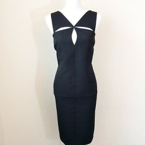 Charles Chang-Lima Women's Dress Size 8 Black Cocktail Party Cut-Out Front