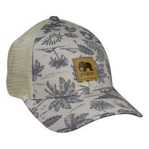 Tropical Elephant Trucker Hat by LET'S BE IRIE - Palm Trees, Tan and Gray