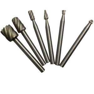 6pcs HSS Routing Router Bits Burr Milling Cutter For  And Rotary Engraving Ma…