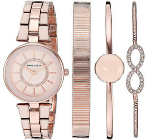 Anne Klein Women's Swarovski Crystal Accented Watch and Bracelet Set Valentine!