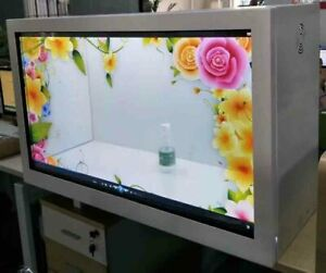 43 inch transparent LCD display cabinettransparent display box with touch