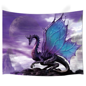 NYMB Medieval Fantasy Theme Wall Art Home Decor Purple Dragon Tapestry for