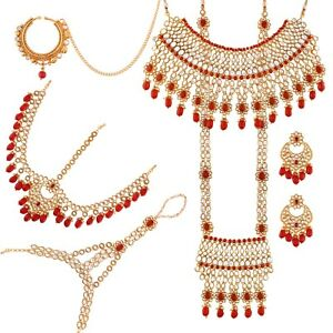 Gold Plated Bridal Jewellery Necklace set Red Kundan wedding earrings choker