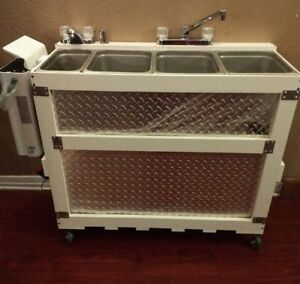 Large Portable Propane or Electric Concession Sink 3 compartment  +1 Hand Wash