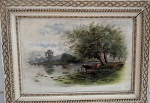 Gorgeous Pastoral Antique Oil Painting on Board Cows Wading in Stream Pond River