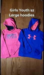 Girls youth large under armour hoodies