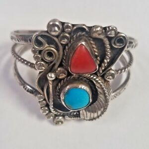 Vintage Kenneth R. Begay Vtg. Estate Sterling Silver Red Coral Turquoise Navajo