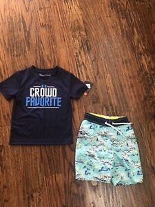 Lot of 2 boy 2T NWT Under Armour t-shirt and Pre-Owned Old Navy swim trunks