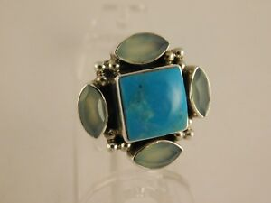 NICKY BUTLER TURQUOISE MOONSTONE STERLING SILVER RING SIZE 10
