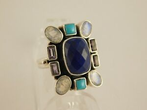 NICKY BUTLER LAPIS LAZULI TURQUOISE MOONSTONE AMETHYST STERLING  RING SZ 10
