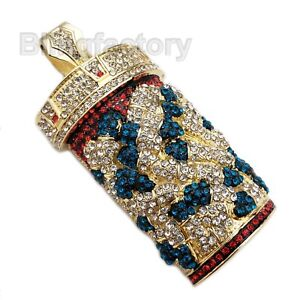 HIP HOP ICED LAB DIAMOND GOLD PLATED PILL BOTTLE BLING LARGE CHARM PENDANT $29.45