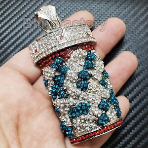 HIP HOP ICED LAB DIAMOND SILVER PLATED PILL BOTTLE BLING LARGE CHARM PENDANT $29.45