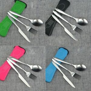 3Pcs Stainless Steel Forks Cutlery Set Portability Kitchen Food Tool Tableware