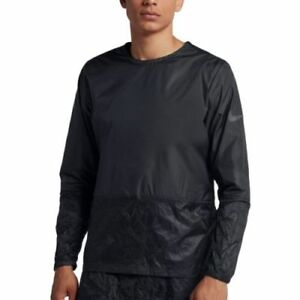 $100 NEW NIKE RUNNING DIVISION CREW RUNNING JACKET TRIPLE BLACK 928497 MENS L $62.95