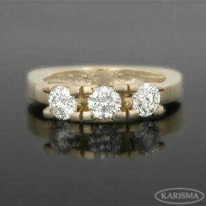 DIAMOND RING 3 STONES VS1 ANNIVERSARY 14 KT YELLOW GOLD SOLITAIRE ACCENTED