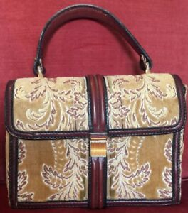 Vintage Tano of Madrid Velvet Box Purse Made in Spain Leather Yellow Paisley