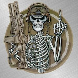 Military Flip Off Skull Vinyl Decal Sticker Gun Dog Tags Marines Army Semper Fi