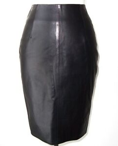 ALEXANDRE VAUTHIER Black Lambskin Leather Zipper Pencil Skirt 36 4
