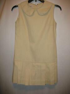 Vintage 1970's Scooter Skirt Mini Dress Trio of Dallas Mod Cloth Ivory Pleated M
