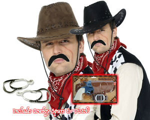 Womens Cowboy Set Gun Spurs Hat Tash Bandanna Western Fancy Dress Clint Eastwood