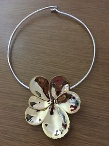 RLM Bronze Sculpted Flower Pendant on Neckwire Necklace Robert Lee Morris NEW!!