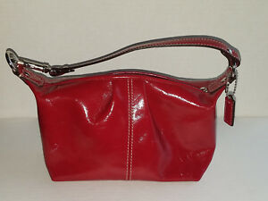 Coach Red Shiny Patent Leather Shoulder BagPurse