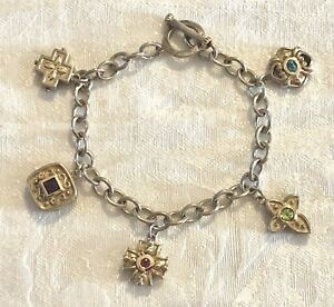 Estate 925 Sterling Silver 14k Yellow Gold Clad Gemstone Charm Bracelet