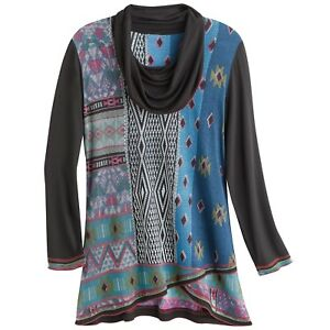 Parsley & Sage Women's Tribal Crossover Tunic Top - Cowl Neck Long Sleeve Shirt