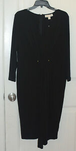 Womens Michael Kors Black Dress Size Large Cocktail Evening Holiday Party