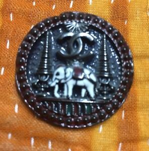 Chanel Elephant Round Button Logo Black White Jewelry Replacement Authentic