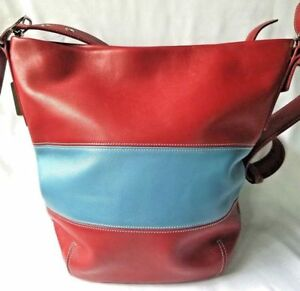 Coach Bleecker Soft Port Leather Duffle Shoulder Bag RedBlue G1S-9173