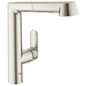 GROHE K7 Main Single-Handle Pull-Out Sprayer Kitchen Sink Faucet Stainless Steel