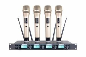 4 Channel UHF Wireless Karaoke DJ Microphone System with 4 Hand-held Microphones