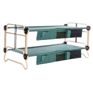 Green 2-pack 40 in. Steel Frame Bunkbable Camping Beds with Bed Side Organizers