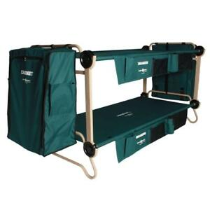 Green 40 in. Polyester Bunkable Beds with Leg Extensions and Powder Coated Frame