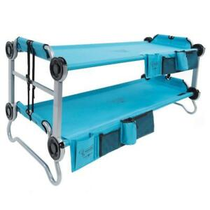 Teal Blue Kid-O-Bunk 65 in. Polyester Sleeping Deck Bunk Beds with Organizers