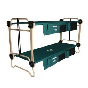 Green 2-pack 32 in. Bunkbable Beds with Leg Extensions and Bed Side Organizers