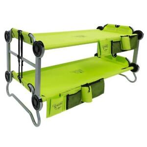 Versatile Lime Green Polyester Kid-O-Bunk 65 in. Bunk Beds with Organizers