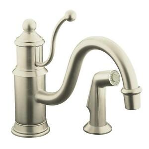 Antique Vibrant Brushed Nickel 1-Handle Low-Arc Kitchen Faucet with Sidespray
