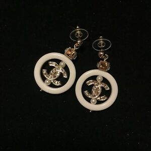 Chanel Crystal Hoop Earrings