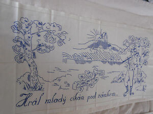 Vintage Traditional Slavic Embroidery Linens Textiles Gypsy w Fiddle Theme