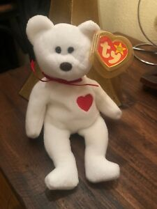 Valentino bear beanie baby TY with EVERY error RARE White starbrown noseetc.