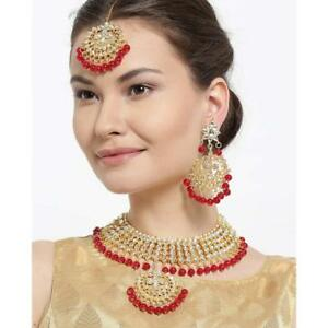 Red Beaded Kundan Necklace set with earrings Traditional Kundan