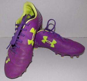 Under Armour Girls Soccer Cleats Size 7 Purple Silver Lime Green Laces Stylish