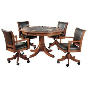Park View 5-Piece Brown Oak Gaming Table and Adjustable Leather Seat Chairs