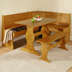 Breakfast Nook Booth Set 3-pc Kitchen Corner Bench Dining Table Chair Solid Wood